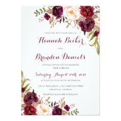 #Marsala Wedding Invitation. Boho Burgundy Invite - #weddinginvitations #wedding #invitations #party #card #cards #invitation #modern