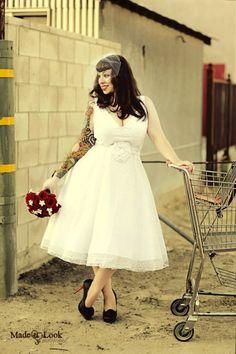 Short Retro Tea Length Wedding Dress with by bridalblissdesigns, $719.00