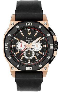 046ab337949 Click Image Above To Buy  Bulova Men s Marine Star Black Goldtone Stainless  Chronograph Watch - Bracelet - Black Dial -