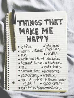 Things to add to the journal for each month - Things that make me happy. See how they change throughout the year.