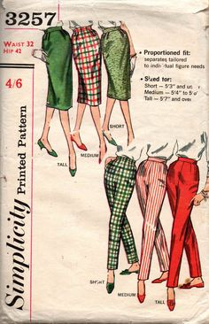 Simplicity 3257 Womens Pencil Skirts & Capri Pants in Proportioned Fit 50s Vintage Sewing Pattern Waist 32 inches