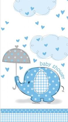 Blue Elephant Baby Shower Plastic Tablecloth: