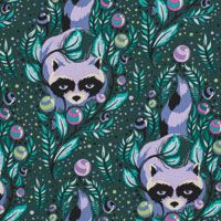 Acacia - Raccoon in Blueberry [PWTP037-BLUEB] - $18.00 : Clair's Fabrics, Patchwork Fabric for Quilts and Quilters. These rural raccoons are bold urban adventurers, bandits seasoned for the city. Animals with a taste for French fries and jam ...!