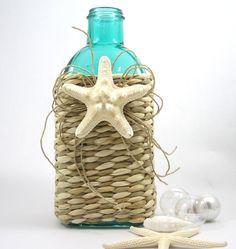 Beach Decor Decorative Bottle in Green w Sea Grass & Starfish.