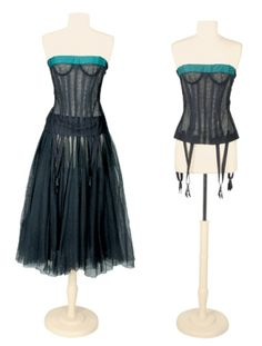Bustier and Petticoat, Christian Dior: 1956, French, tulle boned bustier with silk faille border, tulle petticoat gathered from grosgrain waistband.