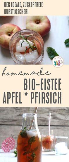 Homemade Bio-Eistee mit Pfirsich und Apfel   Rezept › die kleine Botin