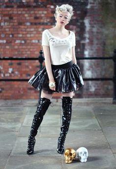 Metallic punk grunge grey skater skirt from Pretty Disturbia