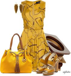"""Yellow Print Dress 2"" by angkclaxton ❤ liked on Polyvore"