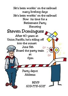 Railroad Worker - Retirement Dinner Party Invitations
