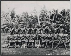 Group of dancers, Samoa, photographed ca 1920 by Alfred John Tattersall.