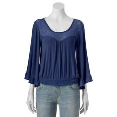 Juniors' About A Girl Smocked Bell Sleeve Top, Size: Medium, Dark Blue