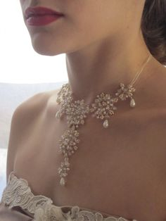Dentelle Necklace Ivory Iridescent French Beaded by SoleildeMinuit, $105.00