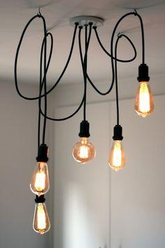 Industrial Pendant Lighting Dining 57 Ideas For 2019 Lustre Industrial, Industrial Pendant Lights, Chandelier Pendant Lights, Modern Industrial, Dining Lighting, Modern Lighting, Lighting Design, Living Room Lighting, Retro Lampe