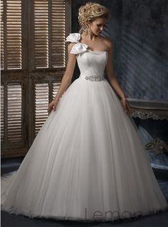 one shoulder with bow princess tulle wedding gown corset back. $245.00, via Etsy.