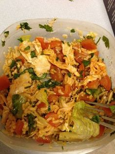 """21 DAY FIX - """"Chipotle"""" - 1 red (shredded chicken), 1 green (tomatoes and romaine lettuce), 1 yellow (brown rice), cilantro & hot sauce"""