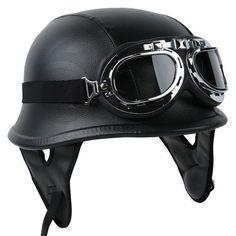 DOT German Black Leather Motorcycle Half Face Helmet Biker Pilot Goggles M L XL in eBay Motors   eBay