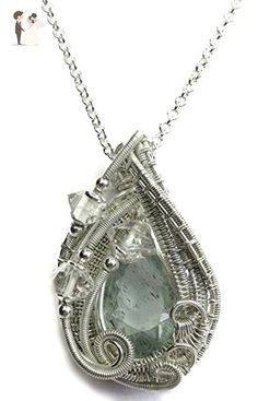 Natural Aquamarine Wire-Wrapped Pendant in Tarnish-Resistant Sterling Silver with Herkimer Diamonds - Wedding nacklaces (*Amazon Partner-Link)