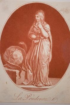 Gravure V 1795 Allégorie LA Prudence Vertu Cardinale Symbolique Serpent Polyedre
