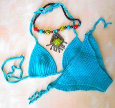Bikini bleu canard - Crochet fait-main 68,50 € Peacock blue Bikini - crochet handmade