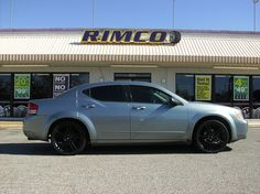 Check out Jessica Slack's 2008 Dodge Avenger sporting Vento Black and Machined 20x7.5 and 5x114.5 wheels and WinRun tires 245/35/20. Photo taken at our San Angelo store. Visit them at 1402 W. Beauregard Avenue in San Angelo, TX 76901. (325) 655-1930.