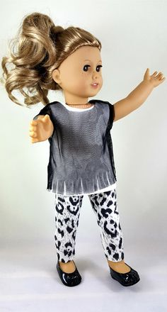 Doll Clothes Ballet Shoe Leopard Print Faux Suede with Bow fits American Girl