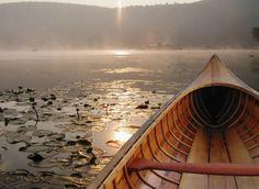 Photograph of Antique Cedar Canoe Nature Photography Water Art Wall Art Lake House Decor Cabin Decor