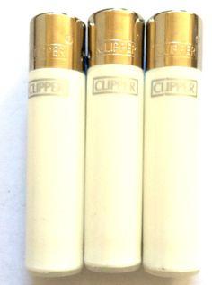 3 x WHITE COLOUR CLIPPER Gas FLINT Refillable MINI SMALL MICRO SIZE GAS LIGHTER