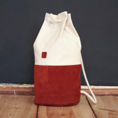 Automne leather - cotton bag from the twin sisters of Marin et Marine.