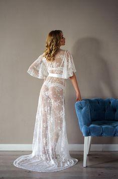 Sheer Lingerie Models, Jolie Lingerie, Women Lingerie, Lace Bridal Robe, Bridal Boudoir, Wedding Lingerie, Sexy Dresses, Girls Dresses, Night Dress For Women