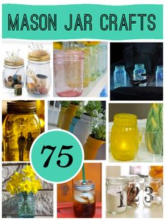 75 Mason Jar Craft; The original roundup from @savedbyloves the silhouette jars are perfect for country weddings. So easy to do your wedding colors with