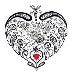 blue and black hart zentangle inspiration | Zentangle | Pinterest ...