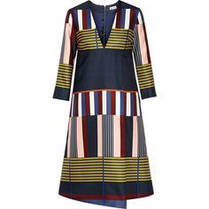 Printed silk-satin wrap-effect dress (12 285 UAH) ❤ liked on Polyvore featuring dresses, wraparound dress, wrap around dress, silk satin dress, suno new york and wrap dress
