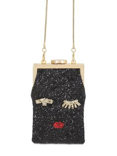 Pin for Later: Emma Watson's Sparkly Handbag Is So Brilliant, We Wish It'd Apparate Into Our Wardrobes Lulu Guinness Ellie Face Glittered Shoulder Bag Clutch Bag, Crossbody Bag, Bag Closet, Glitter Purse, Lulu Guinness, Luxury Shop, Shoulder Handbags, Shoulder Bags, Emma Watson