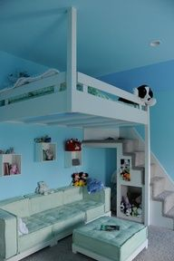 Teenage girls room--great use of space if you have a smaller room and want to give your daughter some hang out with friends room. great for a college dorm room too. -- nightmare for making the bed but I suppose no-one will see it anyway-- Um, can this be OUR room, honey?