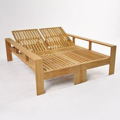 Surprisingly versatile and completely comfortable, this Havana Teak Double Sun Lounger with built-in full body arm rest makes a great lounger for two, laying side by side, or opposing each other. Made of A-Grade Teak. Pallet Furniture, Outdoor Furniture, Outdoor Decor, Bilco Doors, Double Sun Lounger, Backyard, Patio, Terraces, Jacuzzi