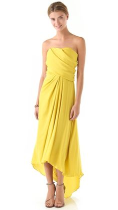 Rehearsal dinner or welcome reception?  Halston Heritage Strapless Draped Gown
