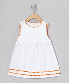 Take a look at this White & Orange Rickrack Top - Infant, Toddler & Girls by Sweet Teas Children's Boutique on #zulily today! - would be cute with a clemson Paw or Orange Monogram!