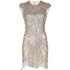 Vintage Style 1920s Flapper Dresses for Sale ❤ liked on Polyvore featuring dresses, short dresses, vintage, vintage beaded cocktail dress, beaded cocktail dresses, cocktail prom dress, vintage prom dresses and 20s flapper dress