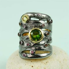 Handcrafted Multi-gem Extra Wide Band Ring