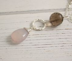 Necklace with Smokey Quartz, Textured Loop and Pink Chalcedony Teardop CDN-630 by jewelrybyroz on Etsy