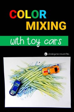 Learn about colors with this super fun color mixing activity! Grab some toy cars and paint for an engaging experiment your kids will love! - Kids education and learning acts Color Activities For Toddlers, Car Activities, Toddler Activities, Toddler Fun, Toddler Crafts, Cars Preschool, Preschool Science, Preschool Crafts, Preschool Journals