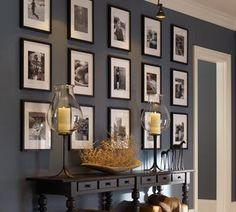 You could also create a more symmetrical gallery wall with family photos or some kind of art collection. Pottery Barn Symmetrical Gallery Wall 10 Tips for Creating a Collected Gallery Wall Frames On Wall, Frames Decor, Box Frames, Wall Colors, Diy Design, Wall Design, Design Ideas, Picture Frames, Picture Walls