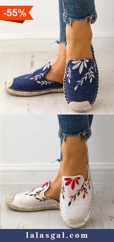 77c65619ed9 Women Fashion Embroidered Espadrille Flat Slippers Shoes Canvas Low Heel  Daily Slip On