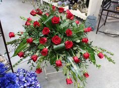 Casket Spray with Red Roses: