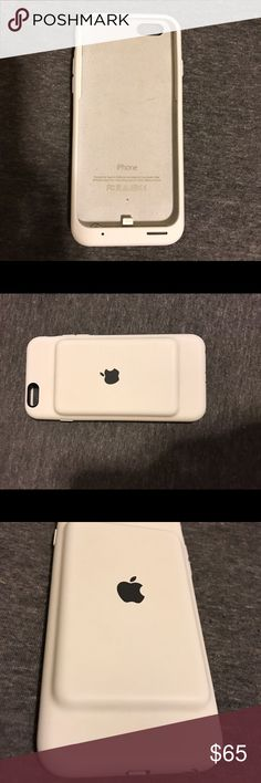 iPhone 6/6s Battery Case White silicone iphone 6/s battery case, made by apple. it works with the software of the device for a healthier charge. provides full charge, you charge the case with the same charger you use to charge your phone with. only 2 weeks old. Other