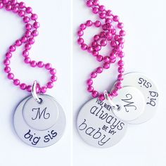 Big Sis Initial Necklace - You Will Always Be My Baby - Big Sister Gift by shopSHINElife on Etsy https://www.etsy.com/listing/122482530/big-sis-initial-necklace-you-will-always