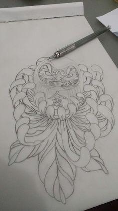 Minha nova criação Daruma + Crisântemo = minha nova tattoo.... em breve fotos dela na pele...