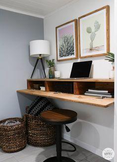 DIY Floating Desk With Hidden Storage - DIY Huntress desk in living room. DIY Floating Desk With Hidden Storage - DIY Huntress desk in living room DIY Floating Desk With Hidden Storage - DIY Huntress Furniture, Diy Storage, Floating Corner Desk, Hidden Storage, Wall Desk, Desk In Living Room, Floating Cabinets, Hidden Desk, Floating Desk