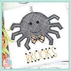 Spider Bow Tie Bean Stitch Applique Design