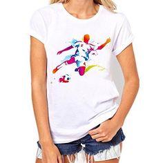 3de24e183 Kolylong Koly Tee Shirt Femme Coupe du Monde 2018 Été, World Cup Pull  Chemise Fille Vêtements Sweat-Shirt Chemisier Top Blanche Football  Impression Blouse À ...